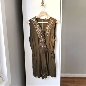 Love Tree embroidered tank romper with tassel 632A
